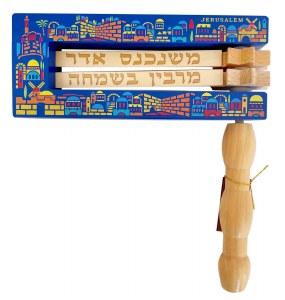 """Gragger Blue Wood with Colorful Jerusalem Design 9"""" x 8"""""""