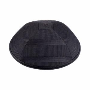 iKippah Grey Plaid with Black Leather Rim Size 3
