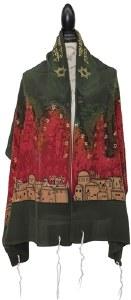 "Women Tallis Jerusalem Design Silk Olive Green 20"" X 72"""