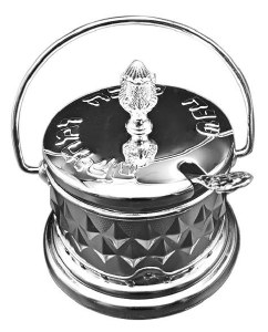 Honey Dish with Handle Includes Glass Insert and Spoon Silver Color