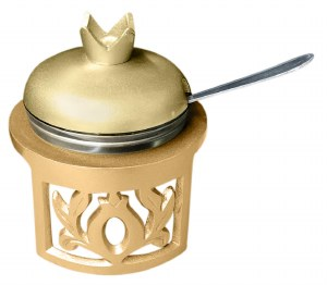 Honey Dish Pomegranate Shape with Glass Insert and Spoon Brass Color