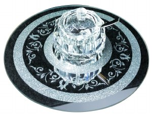 Crystal Honey Dish with Spoon and Cover on Round Decorative Mirror Tray