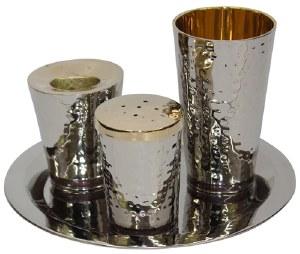 Havdallah Set Nickel Plated Hammered Design with Purple Strip 4 Piece Set