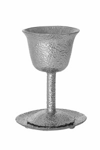 """Hammered Metal Kiddush Cup on Stem with Tray Silver 4.75"""""""