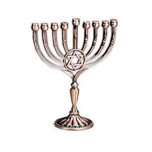 Candle Menorah Antique Copper Finish Harmony Star of David