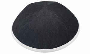iKippah Black Denim with White Rim Size 2