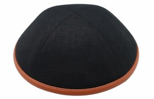 iKippah Black Linen with Camel Leather Rim Size 18cm