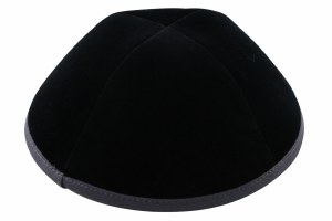 iKippah Black Velvet with Gray Rim Size 16cm