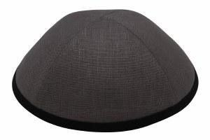 iKippah Gray Linen with Black Rim Size 3