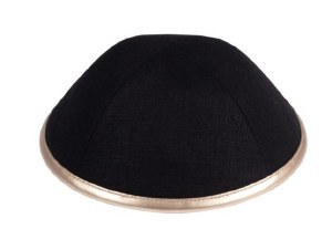 iKippah Black Linen with Rose Gold Leather Rim Size 3
