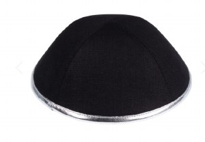 iKippah Black Linen with Silver Leather Rim Size 4
