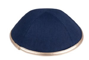 iKippah Navy Linen with Rose Gold Leather Rim Size 5