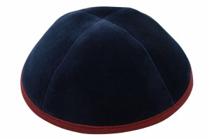 iKippah Navy Velvet with Burgundy Rim Size 2
