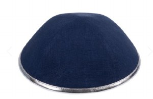 iKippah Navy Linen with Silver Leather Rim Size 2