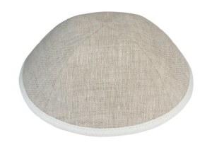 iKippah Tan Linen with Cream Rim Size 4