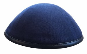 iKippah Navy Linen with Leather Rim Size 16cm