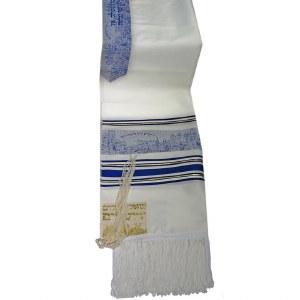 "Tallis Paz Jerusalem Rayon Size 18 Blue and Gold 18"" x 72"""