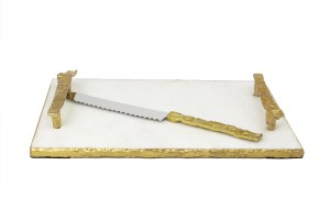 Challah Board White Marble with Gold Crumbled Handles and Knife