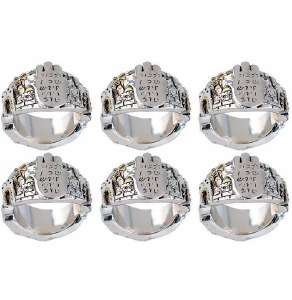 Napkin Rings Metal with Chamsa Design Set of 6