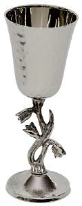 Hammered Nickel Kiddush Cup on Tulip Stem Design