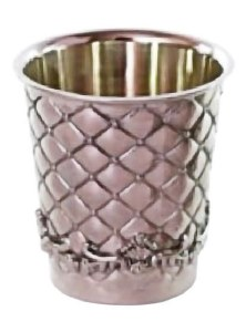 Kiddush Cup Silver Plated Small Reviis Diamond Design