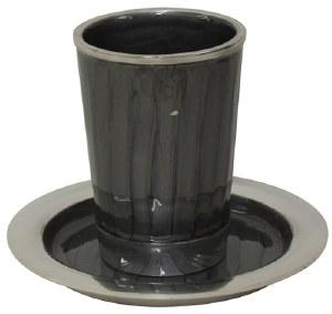 "Kiddush Cup Nickel and Enamel Dark Grey with Saucer 3.5"""