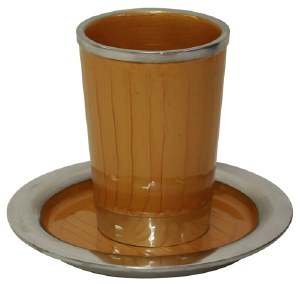 """Kiddush Cup Nickel and Enamel Gold Color with Saucer 3.5"""""""