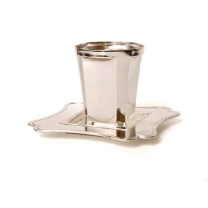 Kiddush Becher Silver Plated Sleek Design with Squared Matching Tray