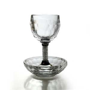 Kiddush Cup Crystal with Nickel and Crushed Glass Stem Includes Tray