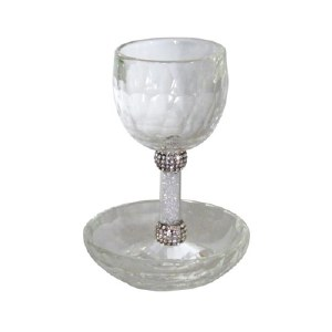 Kiddush Cup Crystal with Crushed Glass Stem with Silver Color Rings and Matching Saucer