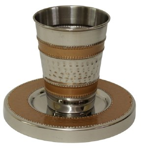 """Kiddush Cup Hammered Nickel and Enamel Gold Colored Pattern with Matching Saucer 3.5"""""""