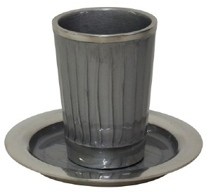 """Kiddush Cup Nickel and Enamel Light Grey with Saucer 3.5"""""""