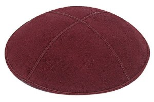 Burgundy Suede Kippah Size Small