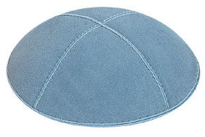 Light Blue Suede Kippah Medium