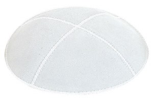White Suede Kippah Size Small
