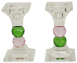 """Crystal Candle Sticks Green and Pink Jewel Design 4.75"""""""