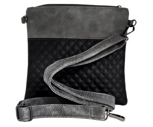 Tallis Bag Faux Leather Gray Black Quilted Design with Carrying Strap