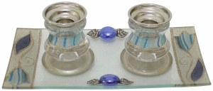 Candle Sticks With Tray Small Applique - Ocean Blue