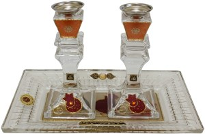 Candle Stick With Tray Medium Applique - Red Pomegranate with Crystal