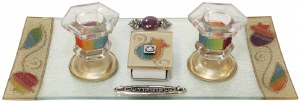 Candle Stick With Tray And Matchbox Small Applique - Rainbow Pomegranate
