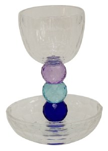Crystal Kiddush Cup with Purple and Blue Jewels Stem and Saucer