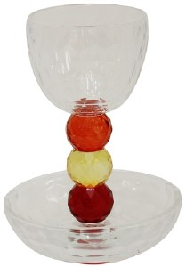 Crystal Kiddush Cup with Orange and Red Jewels Stem and Saucer