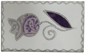 Match Box Purple Tulip with Silver Outline Design