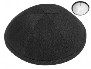 Kippah Black Linen 6 Part One Size Fits All