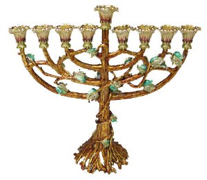"""Candle Menorah Bejeweled Amber with Green Flowers 9.6"""""""