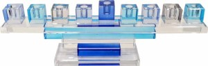 Candle Menorah Blue Crystal on Square Cubes Stand