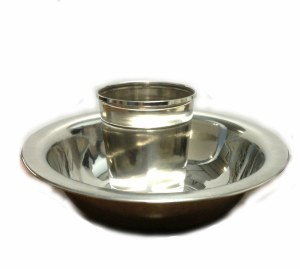 Silverplated Mayim Achronim Cup and Bowl Set Double Rim Design