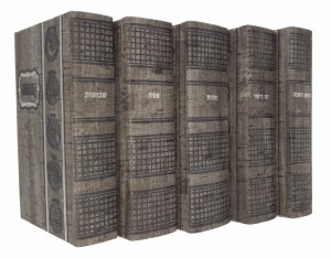 Artscroll Hebrew English Machzorim: 5 Volume Pocket Slipcased Set - Sefard - Graystone Faux Leather