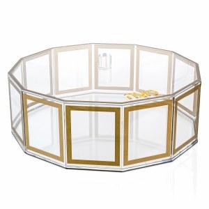 Lucite Matzah Box Hexagon Outline Gold