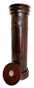 """Antique Leather Megillah Holder Round Wood Base and Cover Brown 12"""""""
